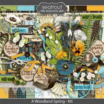 A Woodland Spring Kit Digital Art - Digital Scrapbooking Kits