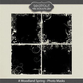 A Woodland Spring Photo Masks Digital Art - Digital Scrapbooking Kits