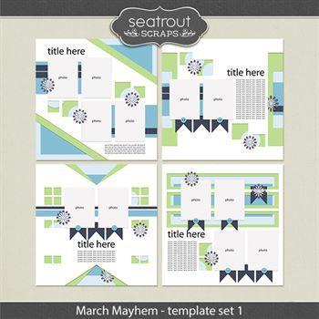 March Mayhem Template Set 1 Digital Art - Digital Scrapbooking Kits
