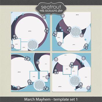 March Mayhem Template Set 2 Digital Art - Digital Scrapbooking Kits
