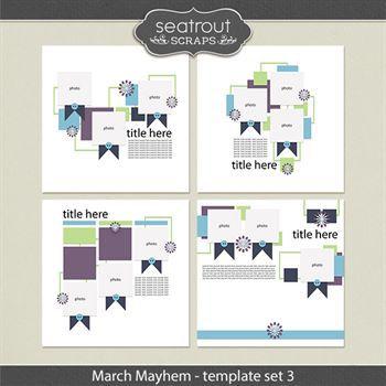 March Mayhem Template Set 3 Digital Art - Digital Scrapbooking Kits