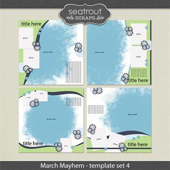 March Mayhem Template Set 4 Digital Art - Digital Scrapbooking Kits