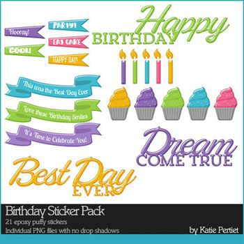 Birthday Sticker Pack Digital Art - Digital Scrapbooking Kits