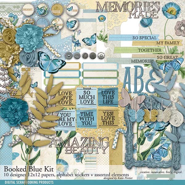 Booked Blue Botanical Scrapbook Kit Digital Art - Digital Scrapbooking Kits
