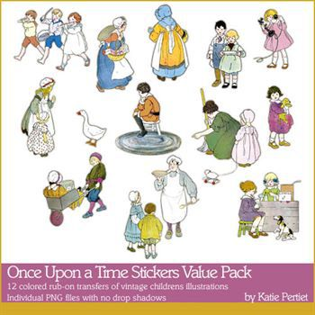 Once Upon A Time Stickers Value Pack Digital Art - Digital Scrapbooking Kits