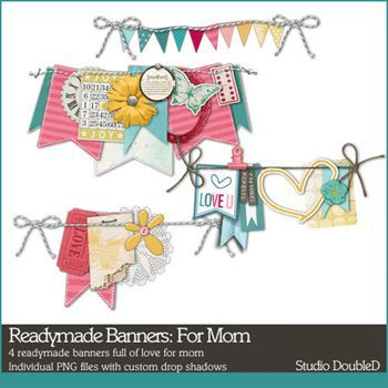Readymade Banners For Mom Digital Art - Digital Scrapbooking Kits