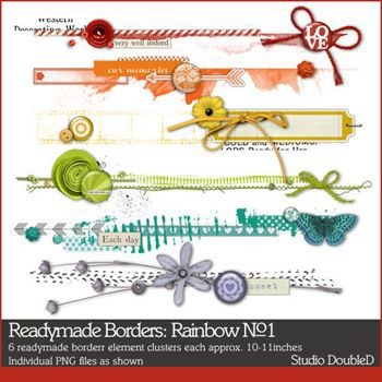 Readymade Borders Rainbow No. 01 Digital Art - Digital Scrapbooking Kits