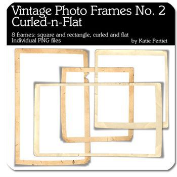 Vintage Photo Frames Curled And Flat No. 02 Digital Art - Digital Scrapbooking Kits