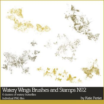 Watery Wings Brushes And Stamps No. 02 Digital Art - Digital Scrapbooking Kits