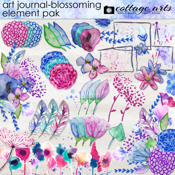 Art Journal - Blossoming Element Pak Digital Art - Digital Scrapbooking Kits