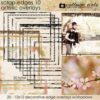 Scrap.edges 10 Artistic Overlays Digital Art - Digital Scrapbooking Kits