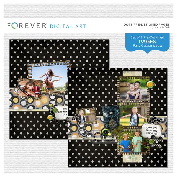 Dots Pre-designed Pages Digital Art - Digital Scrapbooking Kits