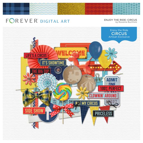 Enjoy The Ride Circus Digital Art - Digital Scrapbooking Kits