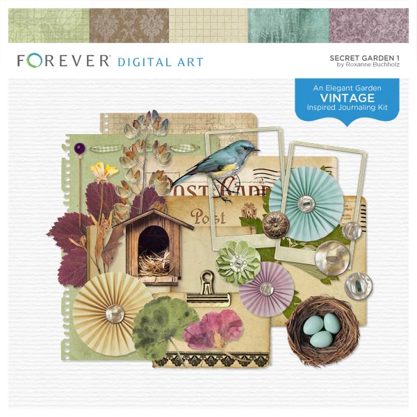 Secret Garden 1 Digital Art - Digital Scrapbooking Kits