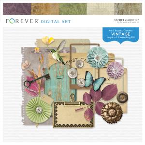Secret Garden 2 Digital Art - Digital Scrapbooking Kits