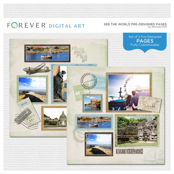 See The World Pre-designed Pages Digital Art - Digital Scrapbooking Kits