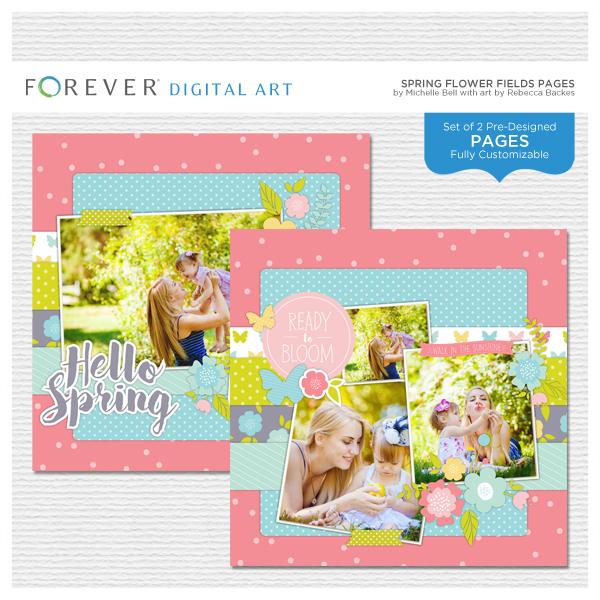 Spring Flower Fields Pages Digital Art - Digital Scrapbooking Kits