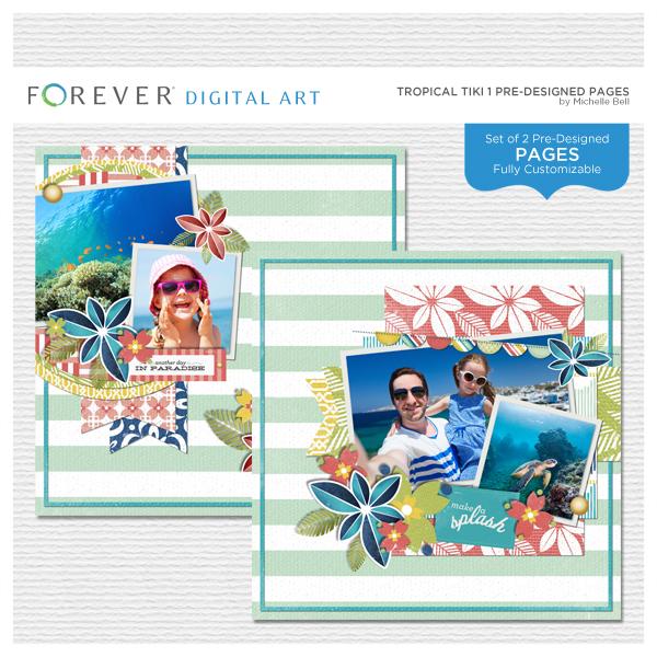Tropical Tiki 1 Pre-designed Pages Digital Art - Digital Scrapbooking Kits