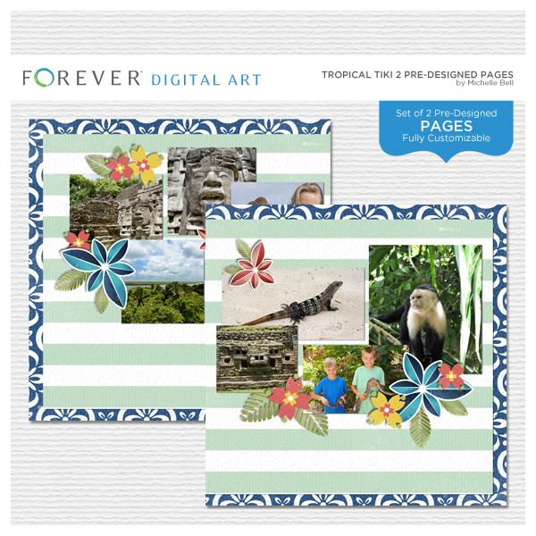 Tropical Tiki 2 Pre-designed Pages Digital Art - Digital Scrapbooking Kits