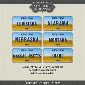 Discover America - States 2016 Digital Art - Digital Scrapbooking Kits