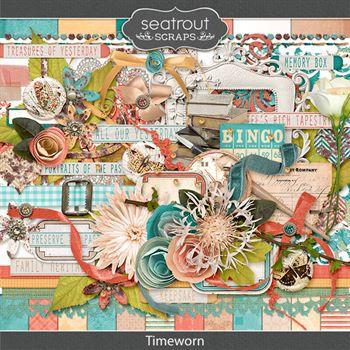 Timeworn Digital Art - Digital Scrapbooking Kits