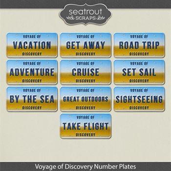 Voyage Of Discovery - Number Plates Digital Art - Digital Scrapbooking Kits