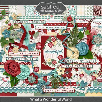 What A Wonderful World Digital Art - Digital Scrapbooking Kits