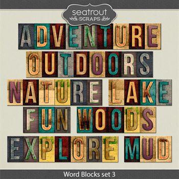 Wood Blocks Set 3 Digital Art - Digital Scrapbooking Kits