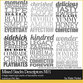 Mixed Stacks Descriptors Brushes And Stamps No. 01 Digital Art - Digital Scrapbooking Kits