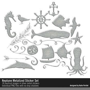 Neptune Metalized Stickers Digital Art - Digital Scrapbooking Kits