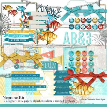 Neptune Scrapbook Kit Digital Art - Digital Scrapbooking Kits