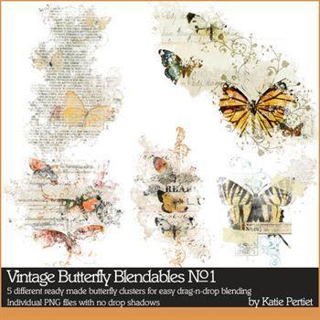 Vintage Butterfly Blendables No. 01 Digital Art - Digital Scrapbooking Kits