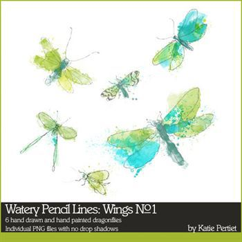 Watery Pencil Lines Wings No. 01 Digital Art - Digital Scrapbooking Kits