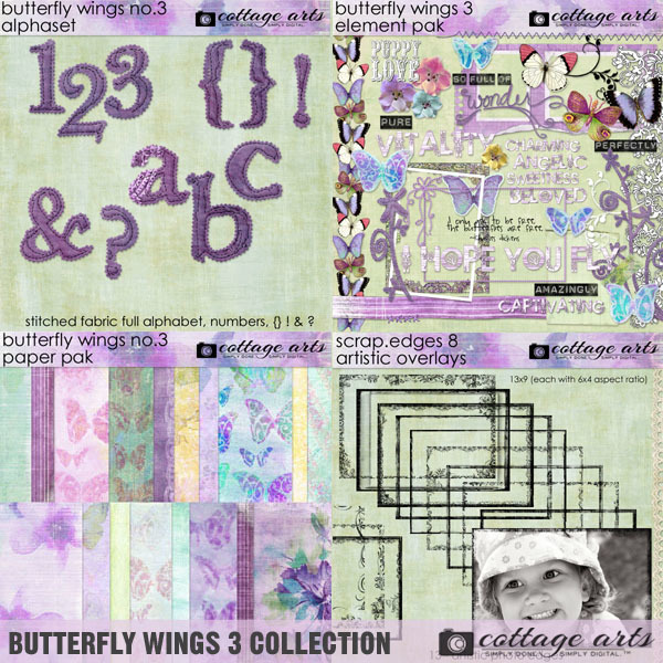 Butterfly Wings 3 Collection Digital Art - Digital Scrapbooking Kits