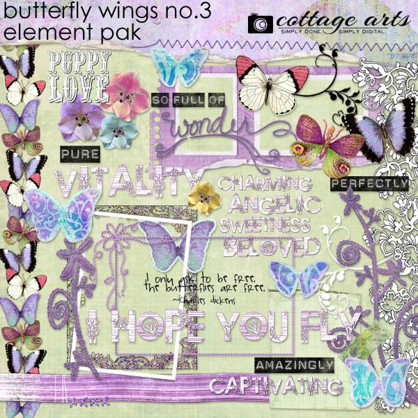 Butterfly Wings 3 Element Pak Digital Art - Digital Scrapbooking Kits