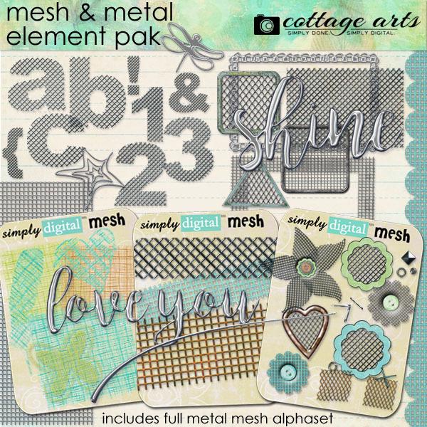 Mesh And Metal Element Pak Digital Art - Digital Scrapbooking Kits