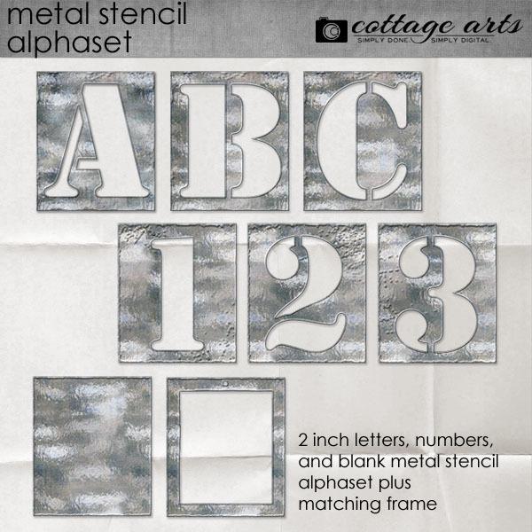Metal Stencil Alphaset Digital Art - Digital Scrapbooking Kits