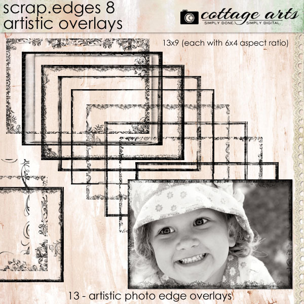 Scrap.edges 8 Artistic Overlays Digital Art - Digital Scrapbooking Kits