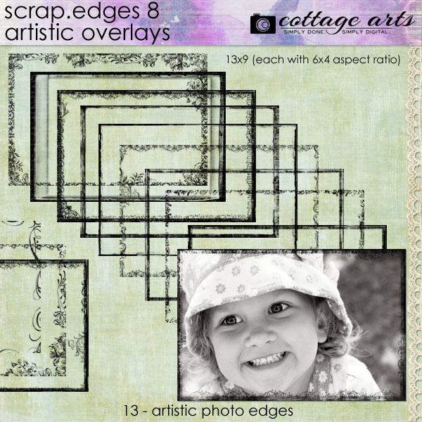 Scrap.edges 8 Artistic Overlays Digital Art - Digital Scrapbooking Kits
