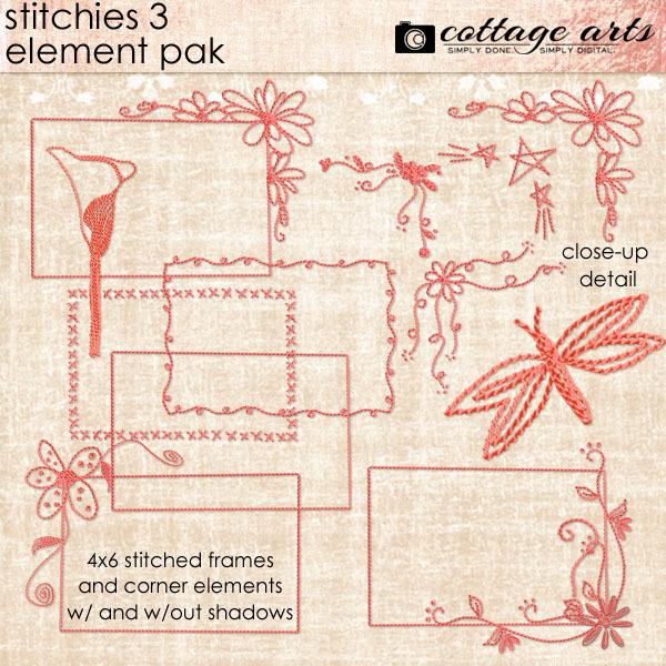 Stitchies 3 Element Pak Digital Art - Digital Scrapbooking Kits