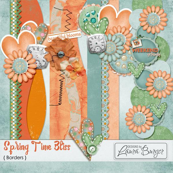 Spring Time Bliss Borders Digital Art - Digital Scrapbooking Kits