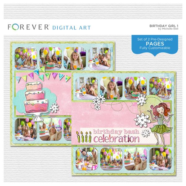 Birthday Girl Pre-designed Pages 1 Digital Art - Digital Scrapbooking Kits