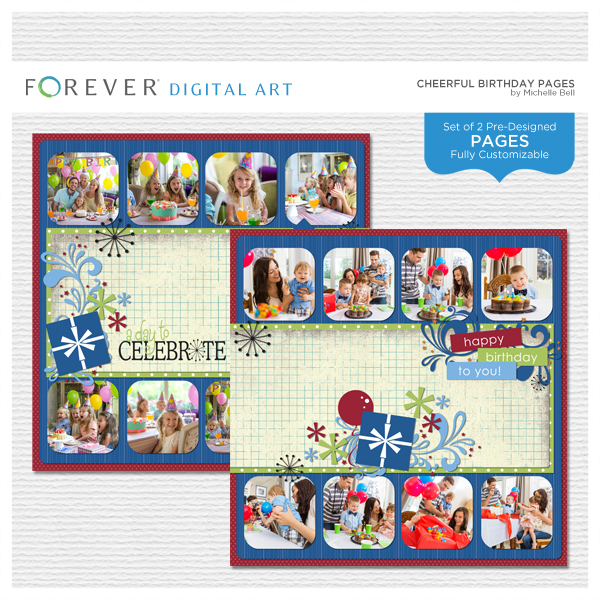 Cheerful Birthday Pre-designed Pages Digital Art - Digital Scrapbooking Kits