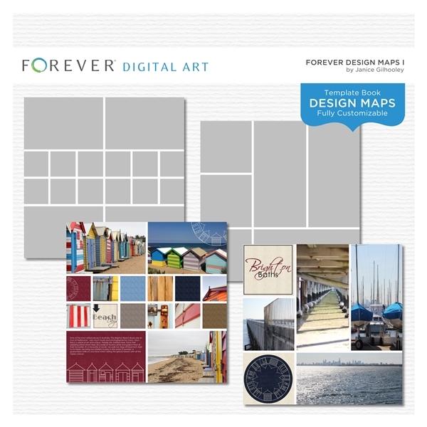 Forever Design Maps 1 Digital Art - Digital Scrapbooking Kits