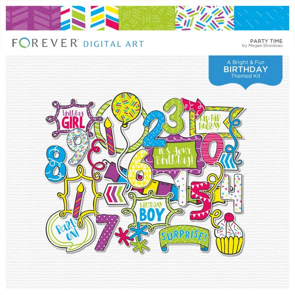 Party Time Digital Art - Digital Scrapbooking Kits
