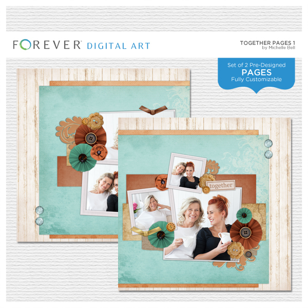 Together Pages 1 Digital Art - Digital Scrapbooking Kits