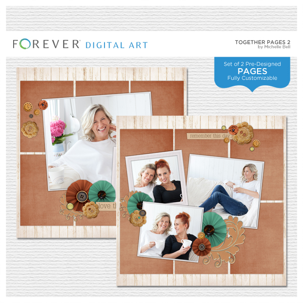 Together Pages 2 Digital Art - Digital Scrapbooking Kits