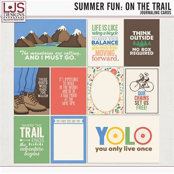 Summer Fun - On The Trail - Journal Cards Digital Art - Digital Scrapbooking Kits
