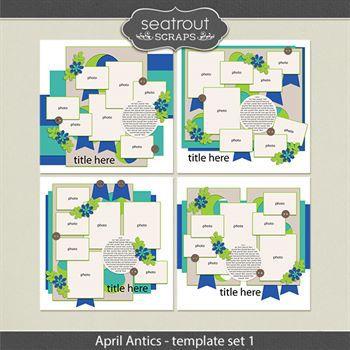 April Antics Template Set 1 Digital Art - Digital Scrapbooking Kits