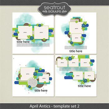 April Antics Template Set 2 Digital Art - Digital Scrapbooking Kits